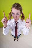 Office worker. Fish-eye lens used. Office worker. On green background royalty free stock photography