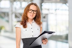 Office worker with a folder Stock Photography