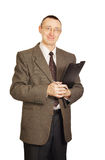 Office worker with a folder Royalty Free Stock Image
