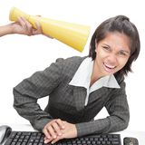 Office worker getting loud instructions Stock Photography