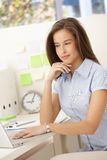 Office worker girl with computer Royalty Free Stock Image