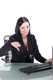 Office worker giving the thumbs-down sign royalty free stock images