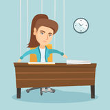 Office worker hanging on strings like marionette. Royalty Free Stock Photography