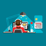 Office worker at his desk. Cool vector flat design illustration with man working on desktop computer. Royalty Free Stock Photography