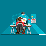 Office worker at his desk. Cool vector flat design illustration with man working on desktop computer. Office worker at his desk, back view. Cool vector flat Stock Photography