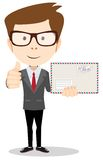 Office worker holding huge mailer envelope  giving Royalty Free Stock Image