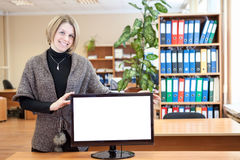 Office worker holding monitor with white isolated screen Royalty Free Stock Photo