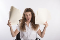 Office worker holding paperwork Royalty Free Stock Images