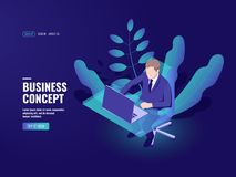 Office worker, hr vacant workplace, bank employee, analyst at work report isometric vector illustration dark vector illustration