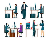 Office worker icons set with business people workflow elements i Royalty Free Stock Photo