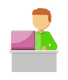 Office Worker Illustration. Man with Notebook. Office worker illustration in flat style design. Man works with laptop and analyzes website. Development solution Royalty Free Stock Photos