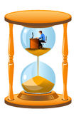 Office worker inside the hourglass Stock Photos