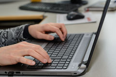 Office worker with laptop - close-up Stock Photos