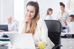 Office worker with laptop stock image