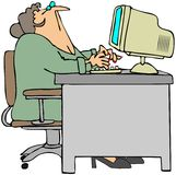 Office Worker Looking Above Her. This illustration depicts a woman office worker sitting at her desk and looking above her Royalty Free Stock Images