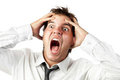 Office worker mad by stress screaming isolated Royalty Free Stock Photography
