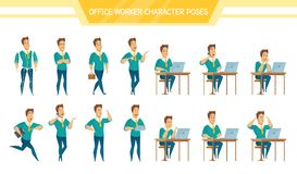 Office Worker Male  Poses Set Royalty Free Stock Image