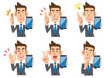 Office worker male smartphone set of expressions and gestures. The images of an Office worker male and his smartphone , set of expressions and gestures royalty free illustration