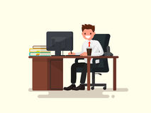 Office worker man behind a desk. Vector illustration. Of a flat design Royalty Free Stock Image