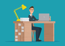 Office worker man behind a desktop Vector creative color Royalty Free Stock Photography