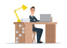 Office worker man behind a desktop. Vector illustration isolated Stock Photos