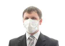 Office worker in the medical mask. Isolated object Stock Photography