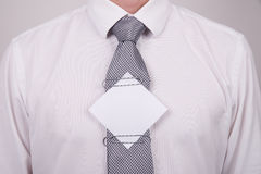 Office worker with note on tie Stock Photos