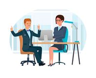 Office worker, in office at desk, discusses cooperation with client. Royalty Free Stock Photo