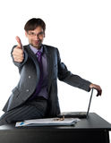 Office Worker Okay at the Desk Stock Photo