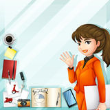 Office worker and other accessories Royalty Free Stock Photo