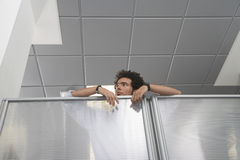 Office Worker Peering Over Cubicle Wall Stock Photos