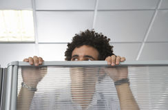 Office Worker Peering Over Cubicle Wall Royalty Free Stock Photos
