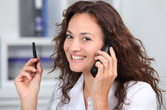 Office worker on the phone Stock Photos