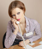 Office worker with phone Royalty Free Stock Photos