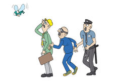 Office worker, pickpocket and policeman staring at. Policeman catching jostler. He is robbing office worker, who is suffers ridicule from the big flies. All Stock Images