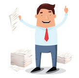 Office worker and piles of papers Stock Photos