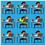 Office Worker play mobile phones among their busy friends. Flat design stock illustration