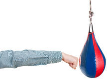 Office worker punches punching bag isolated Royalty Free Stock Photography
