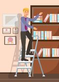 Office Worker Reaching Documents Flat Illustration. Cheerful Man, Boy Standing on Folding Steps Cartoon Character. Lawyer, Solicitor with Folders in Bookcase stock illustration
