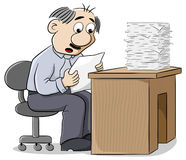 Office worker reads a letter dismayed at the news Stock Image