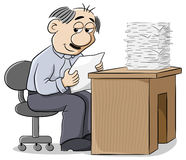 Office worker reads a pleasing letter. Vector illustration of an office worker reads a pleasing letter Royalty Free Stock Photography