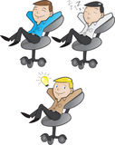 Office worker relaxing. Vector of an office worker relaxing on his chair Royalty Free Stock Photo