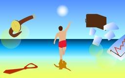 Man On The Beach royalty free illustration