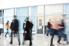Office Worker Rushing through Corridor, Motion Blur Stock Images