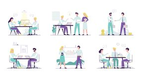 Office worker set. Collection of business people. In suit communicate. Teamwork concept. Boss and employee. Isolated vector cartoon illustration vector illustration