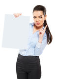 Office worker with a sheet of paper Royalty Free Stock Photos