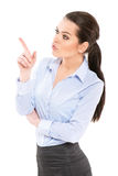 Office worker showing by finger Royalty Free Stock Photography