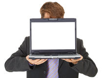 Office worker shows computer screen Stock Images