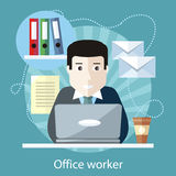 Office Worker Sitting in front of Computer Stock Photography