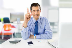 Office worker solving the problems Stock Images